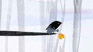 Der kleine Vogel und das Blatt